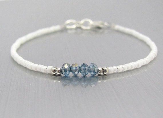 White Friendship Bracelet Blue Crystal Beads Seed Bead Bridesmaid Gift Minimal Hawaiian Jewelry
