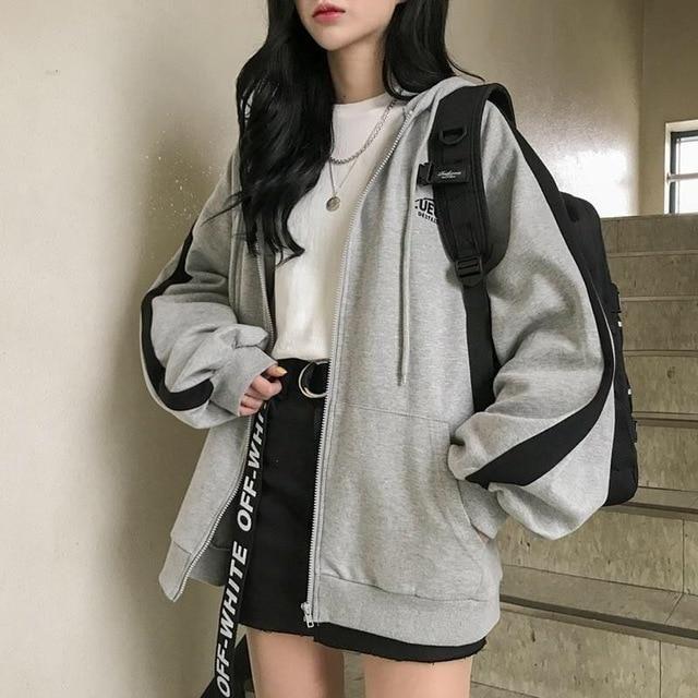 Oversized Hooded Stipe Zip-Up - Gray / S