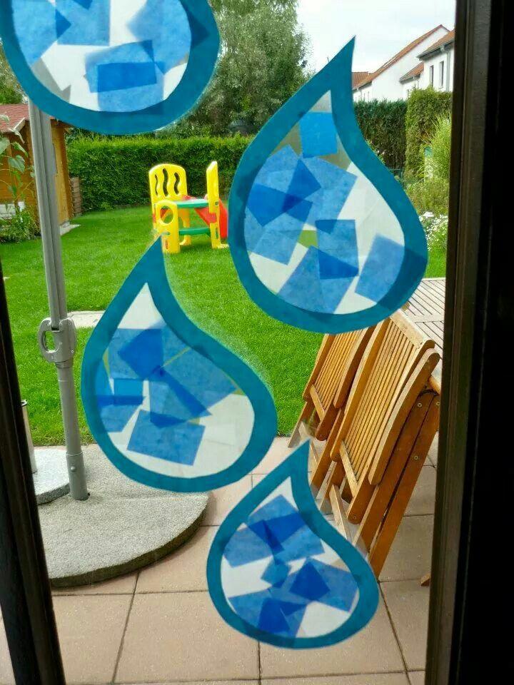 Regentropfen kist basteln basteln regentropfen und basteln herbst - Fensterdeko herbst kindergarten ...