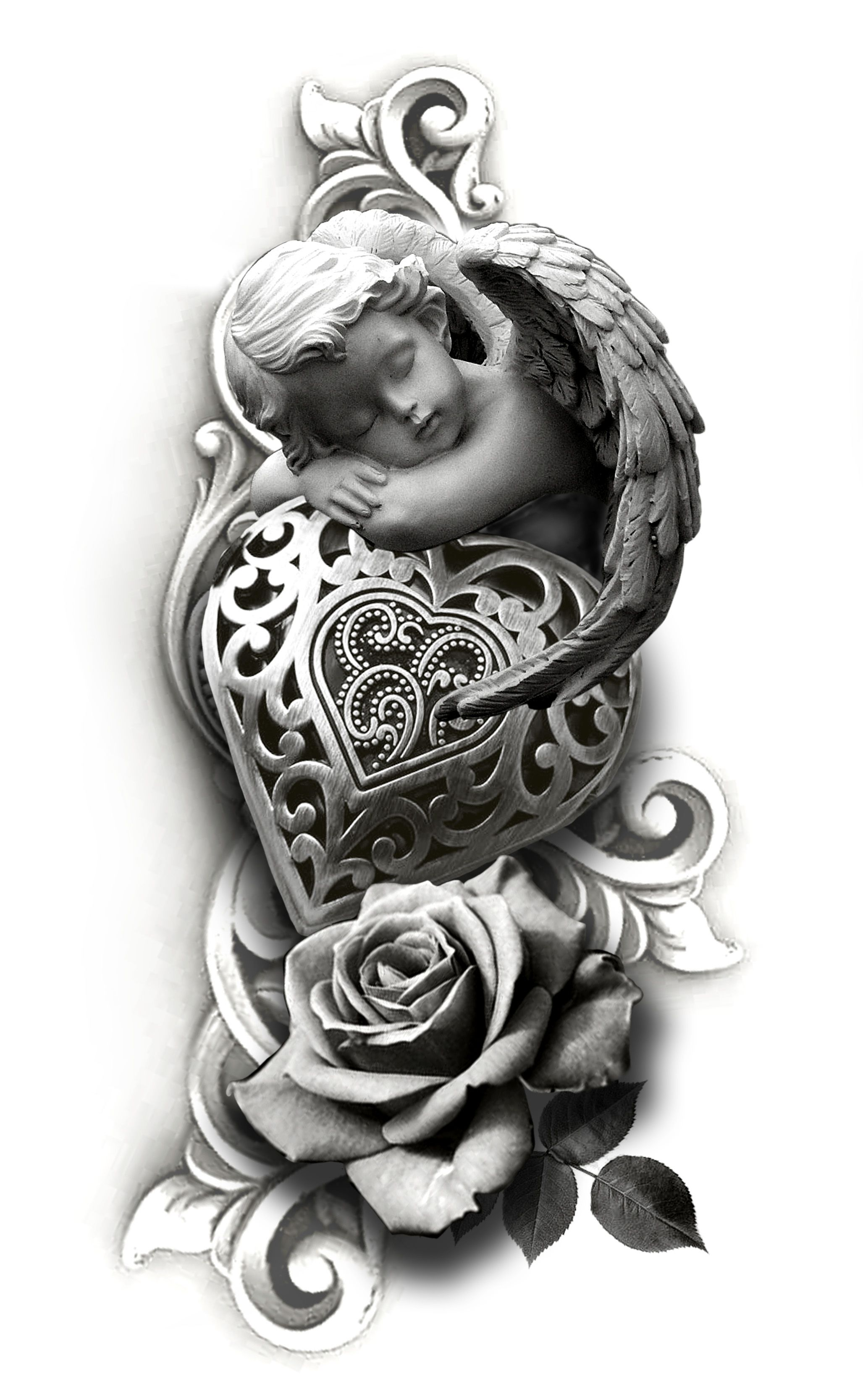 Cherub Heart Rose Tattoo Design In 2020 Dark Tattoo Tattoo Design Drawings Tattoo Sleeve Designs