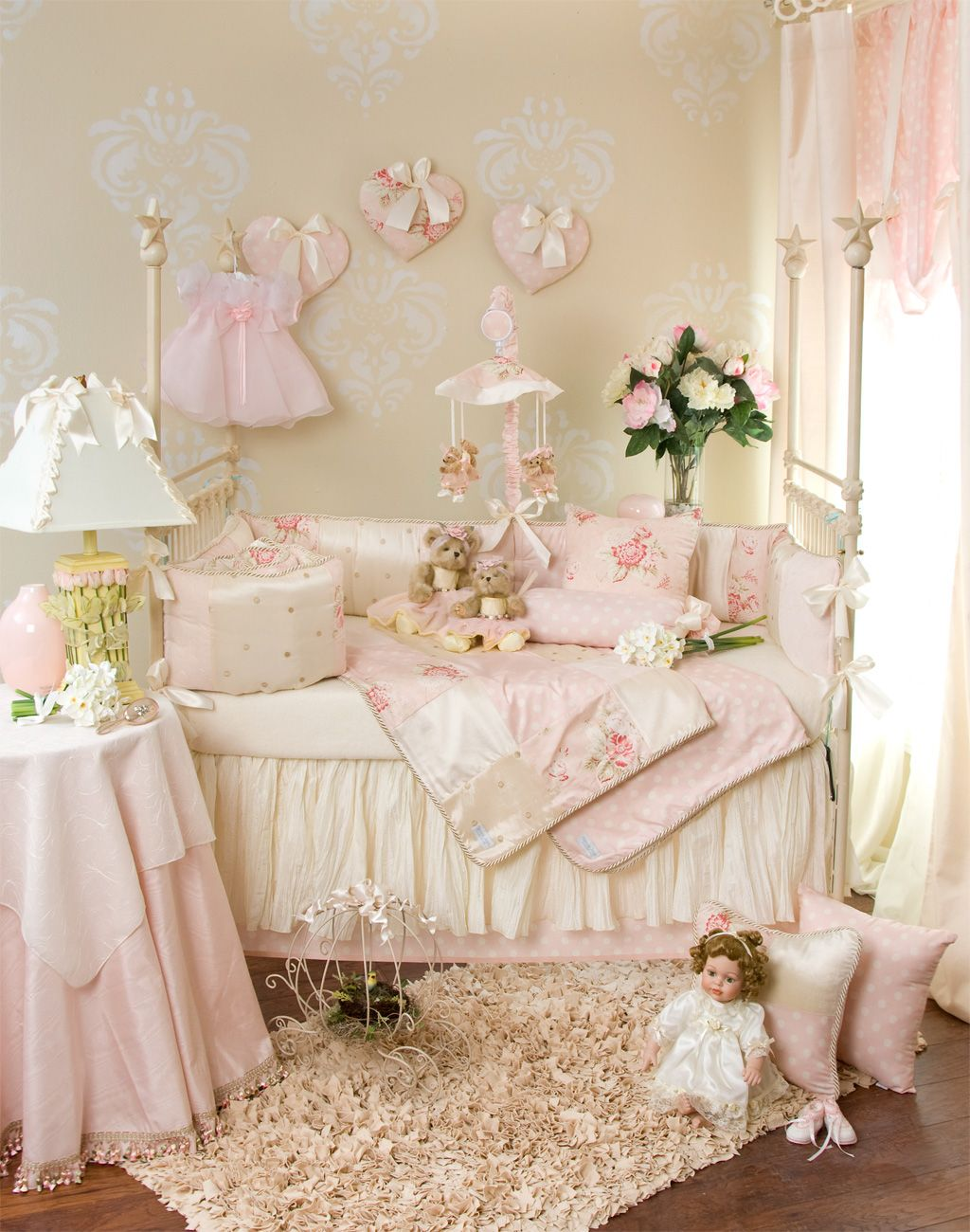 Shabby chic wall decor nursery - Glenna Jean Bedding For Baby Girl S Room With Shabby Chic Flair Via Baby Cribs