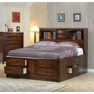 Rosewood Queen Size Platform Storage Drawer Bed in Walnut Finish. Love the storage in this!