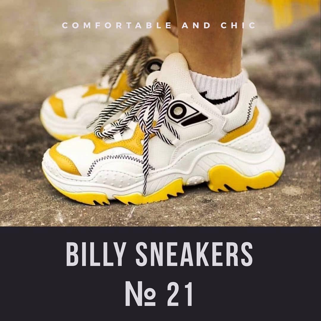 e5c129e62 21 🔸Кроссовки BILLY из белой ткани с контрастными жёлтыми вставками из…