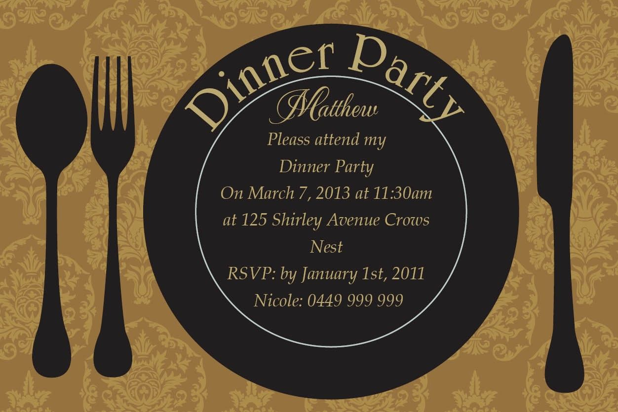 Fine Dining Postcard In Gold Invitation  Impressive Invitations