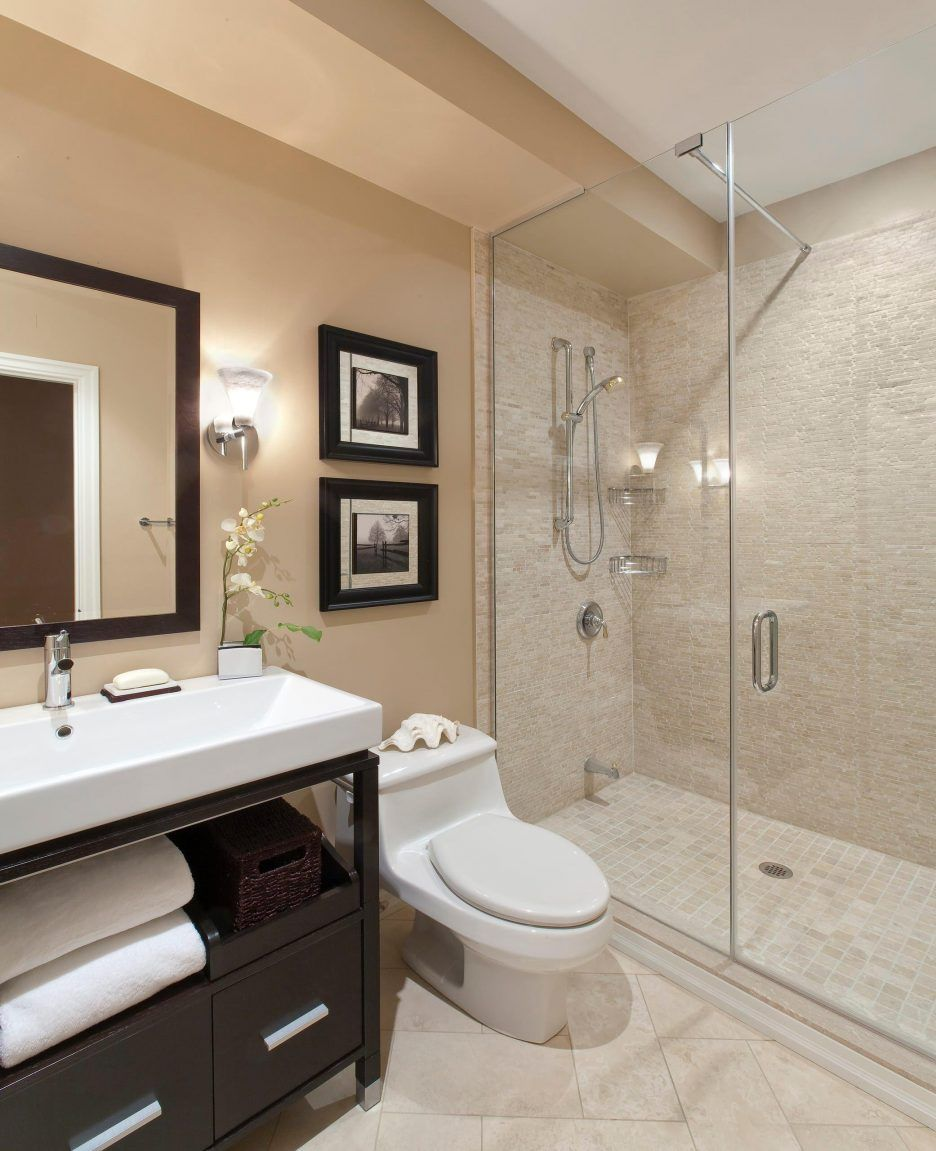 Modern White Porcelain Toilet Mixed Light Tan Wall Color Featuring Exposed Shower E Transitional Bathroom Design Small Bathroom Remodel Bathroom Remodel Master