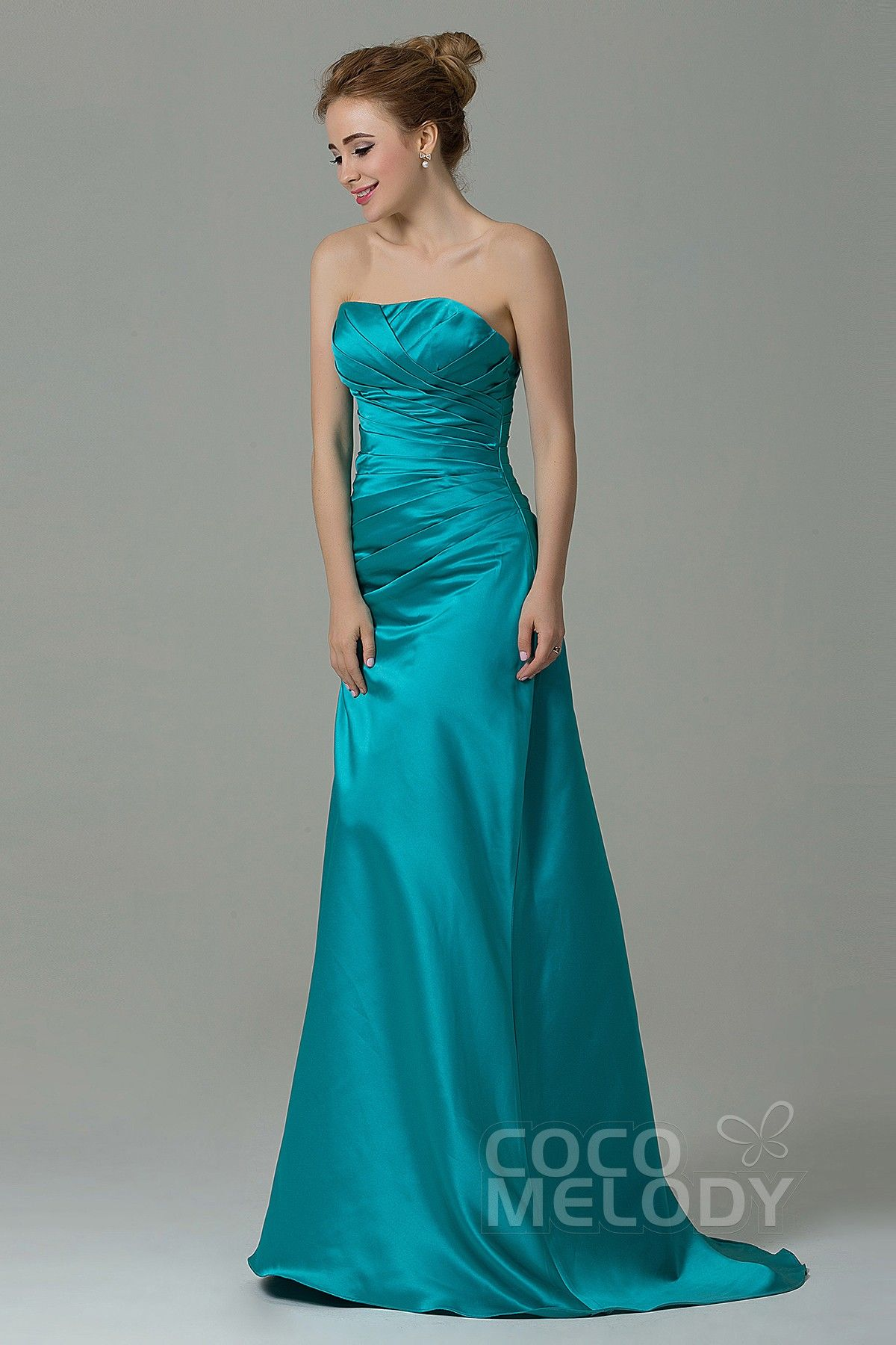 Queenly sheath column strapless natural floor length satin tiffany queenly sheath column strapless natural floor length satin tiffany blue sleeveless lace up corset bridesmaid dress with ruched ombrellifo Image collections