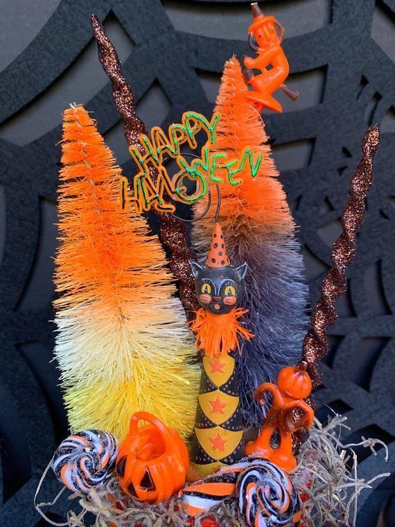 Your place to buy and sell all things handmade #mugdisplay Vintage Halloween Mug Display, Johanna Parker Black Cat Ornament Horn , Vintage Halloween Decor, Hal #mugdisplay