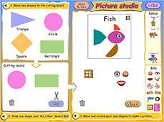 Shape overlays: picture studio (F-4). Students cut, rotate and arrange shapes to create their own picture. A number of starter ideas are provided and students can print their final work.