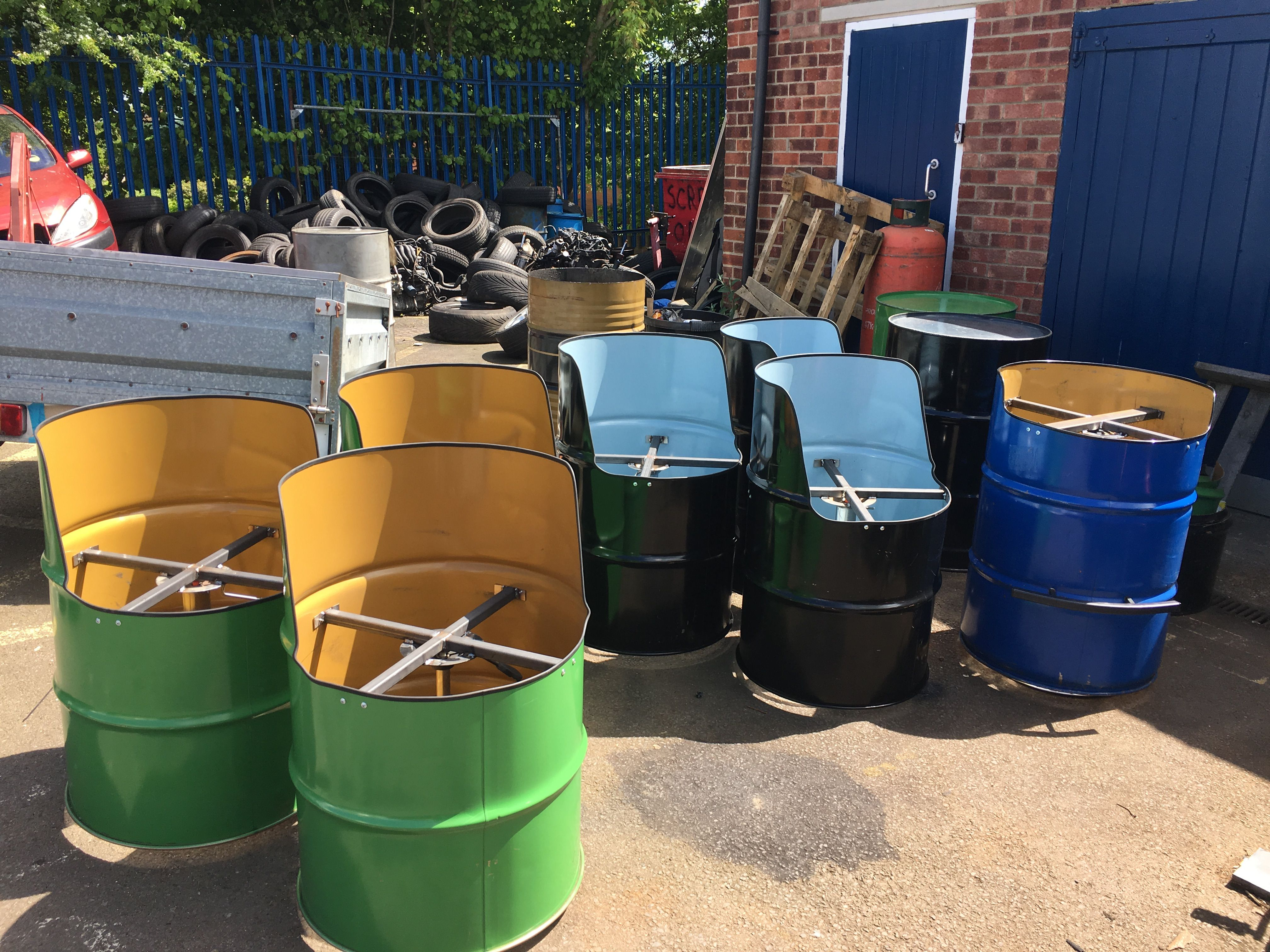 drum furniture recycled oil drum seat table furniture recycled oil drums ideas