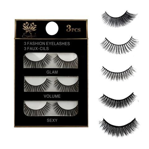 19655a76910 3 Pairs Natural False Eyelashes Beauty Make up Thick Cross Voluminous Messy  Style Eye Lashes Extension Women Fashion Makeup Tool