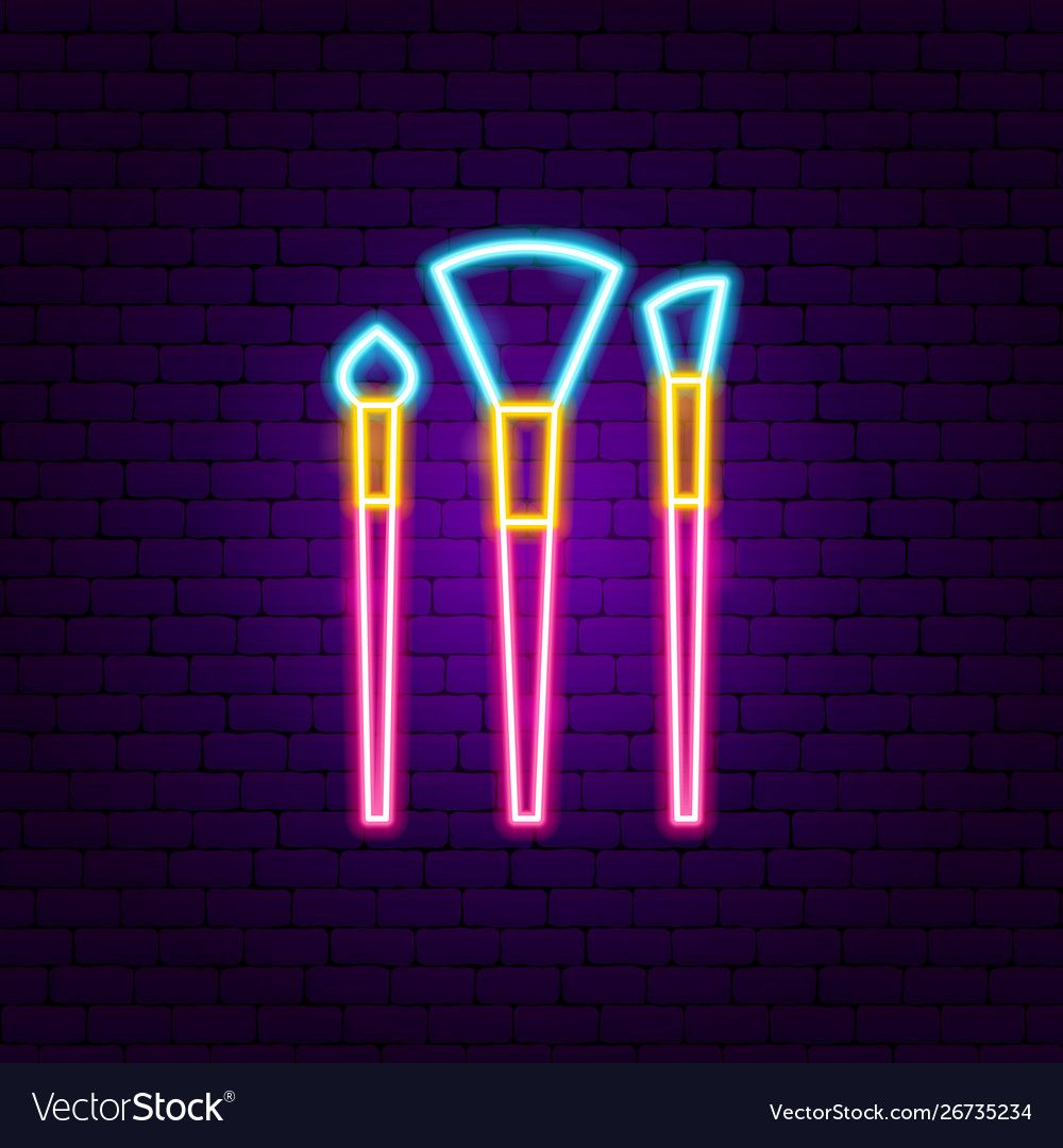 Makeup brushes neon sign vector image on Neon signs