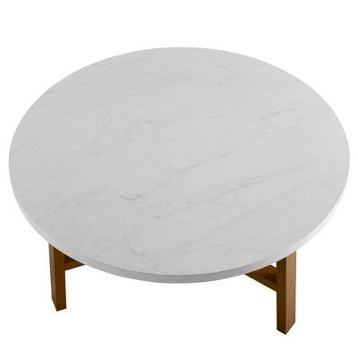 30 Round Coffee Table White Marble Acorn Saracina Home White