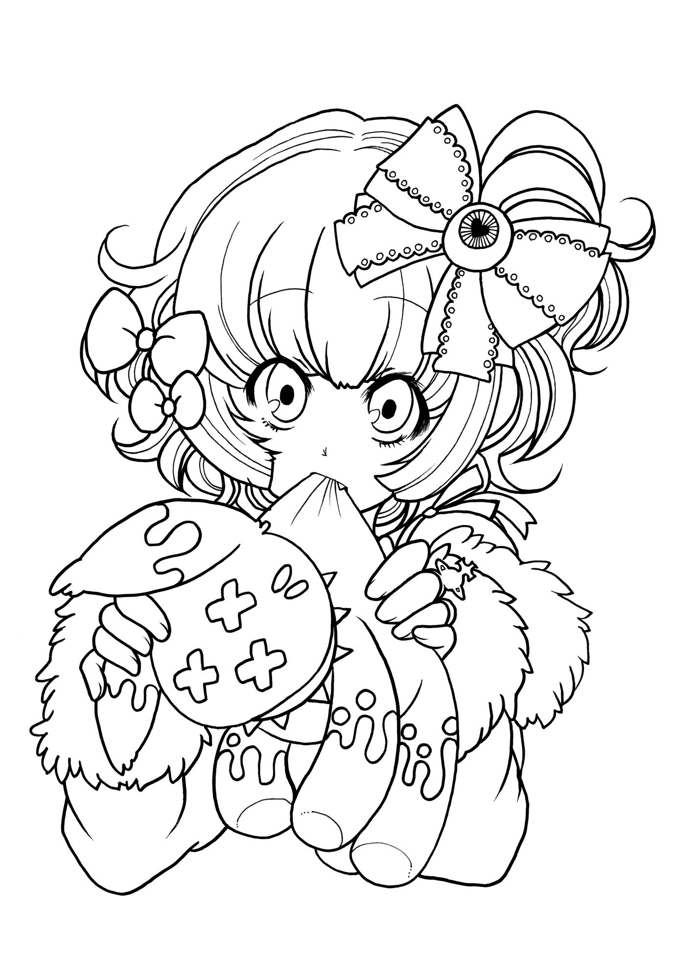 Anime Lineart Animal Coloring Pages Coloring Books Coloring Book Pages [ 2000 x 1414 Pixel ]