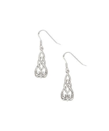 Look at this #zulilyfind! Sterling Silver Long Celtic Knot Claddagh Drop Earrings #zulilyfinds