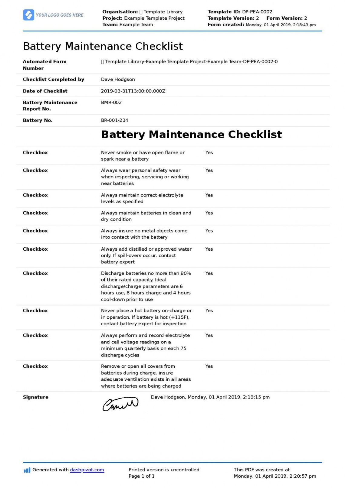 Get Our Example Of Forklift Maintenance Schedule Template Computer Maintenance Checklist Template Maintenance Checklist