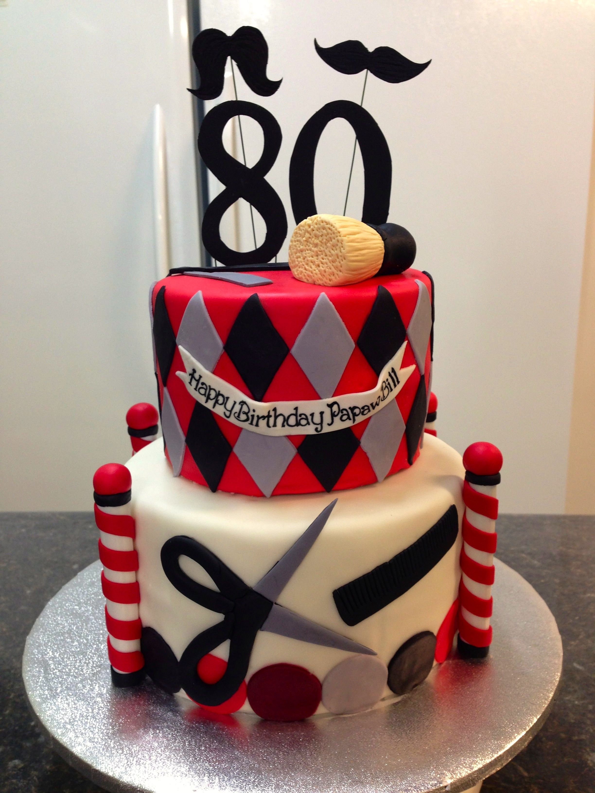 Birthday Cake For A Barbers 80th Birthday Dads Party