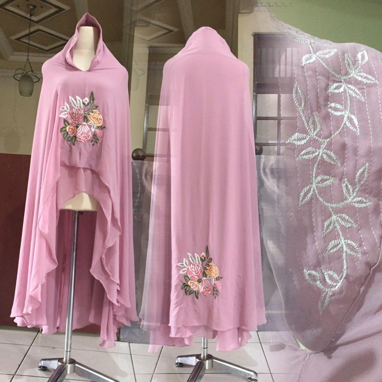 Khimar Kamilla By Gallery Syarifah Kerudung Bordir Ceruti 2 Lapis Kerudung Model Bunga