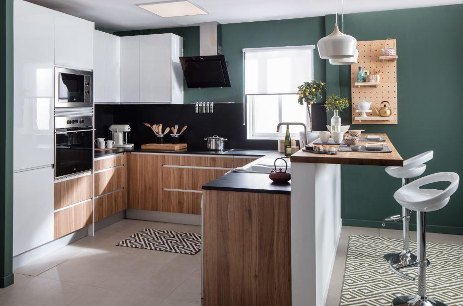 Para un ambiente moderno, encontramos muebles de cocina combinados ...