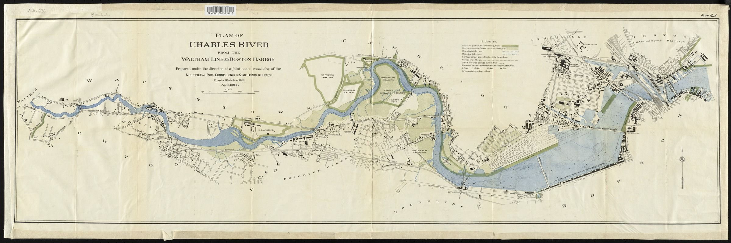 Plan of Charles River from the Waltham line to Boston Harbor | maps Charles River Map on
