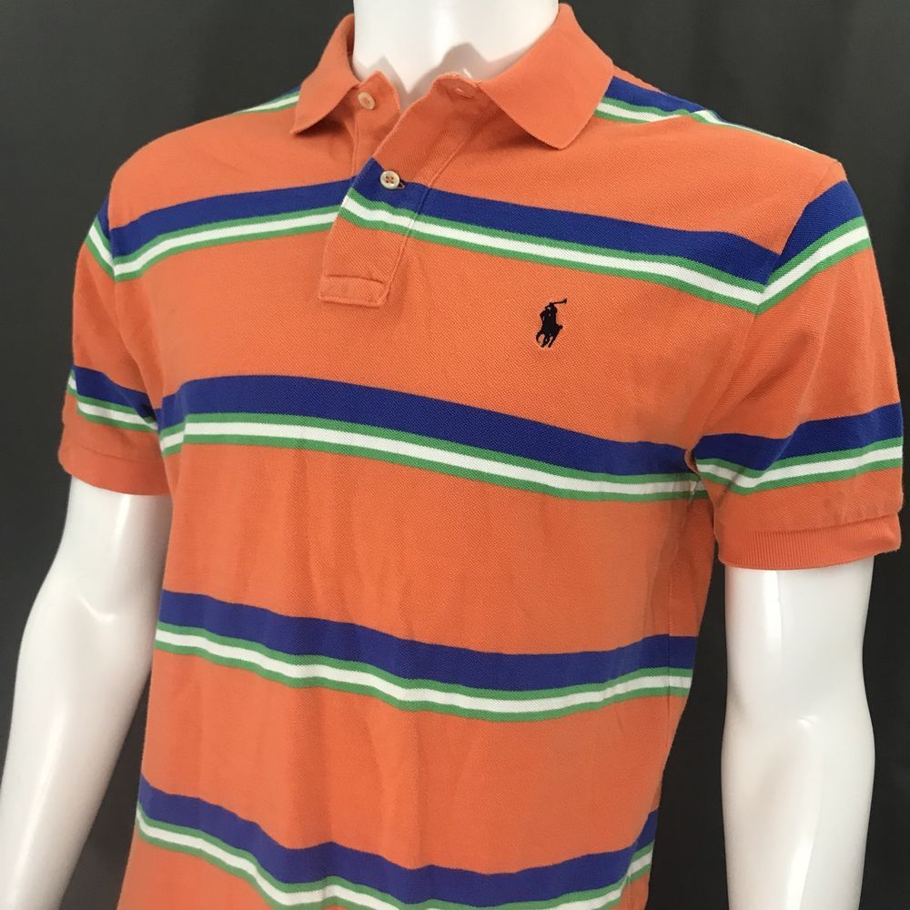 bf201b3357 Polo by Ralph Lauren Orange Blue Green White Striped SS Shirt Men's Size  Medium #RalphLaurenRugby #PoloRugby