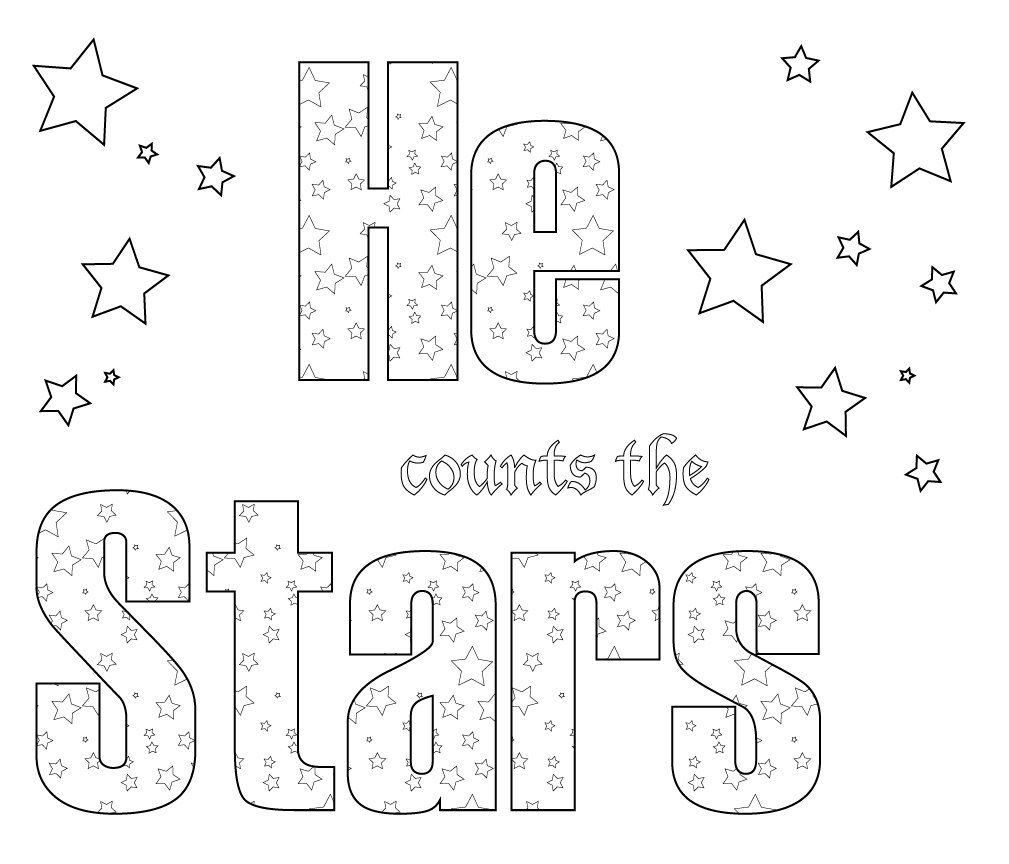 Printable coloring pages etsy - Printable Coloring Page He Counts The Stars 2