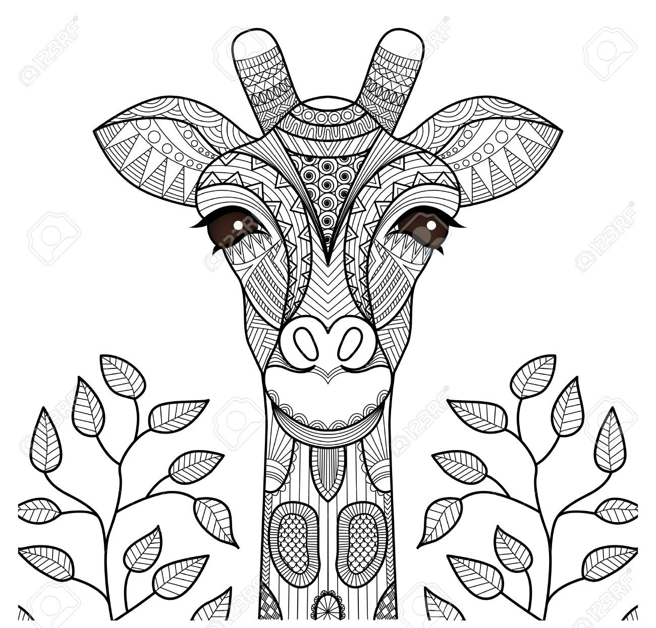 Zentangle Giraffe Head For Coloring Page Shirt Design And So