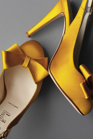 Yellow bow-topped slingbacks