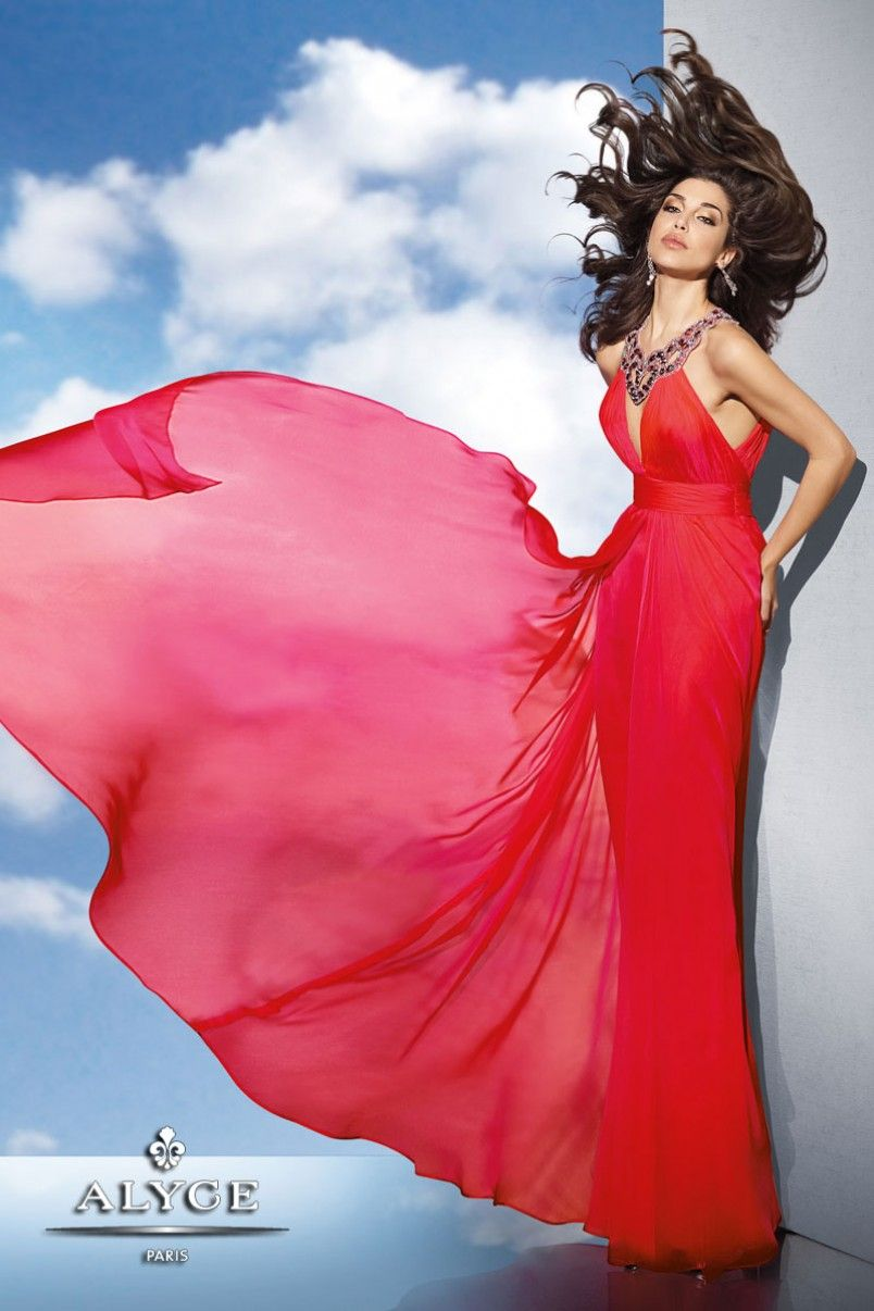 Two Tone Silky Chiffon Gown with Bejeweled Halter Neckline from ...