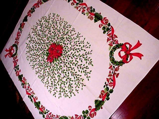 Vintage LG 50's Chiristmas Tablecloth Modern Shiney Brites Bells Midcentury | eBay