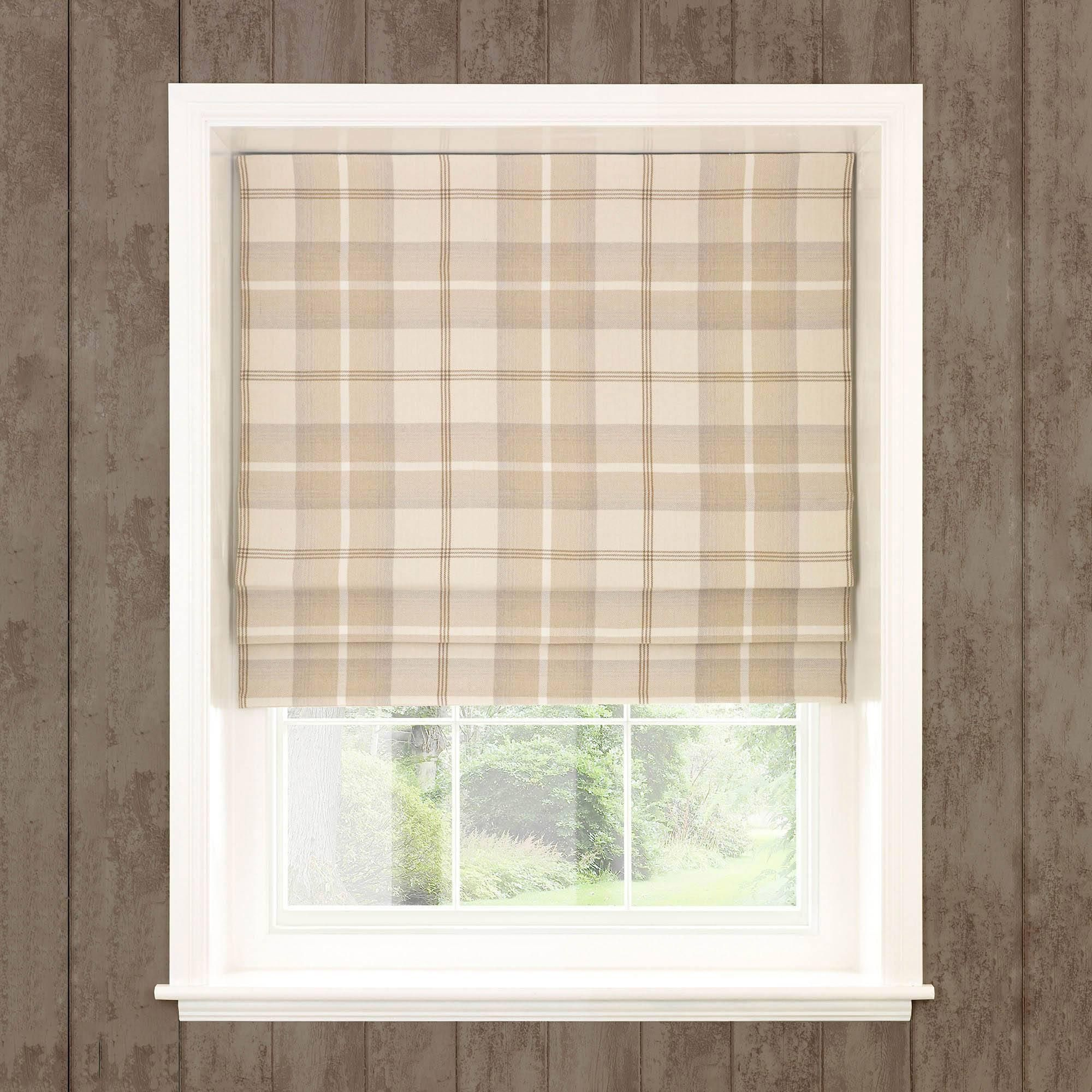 Highland Check Natural Blackout Roman Blind In 2020 Blackout