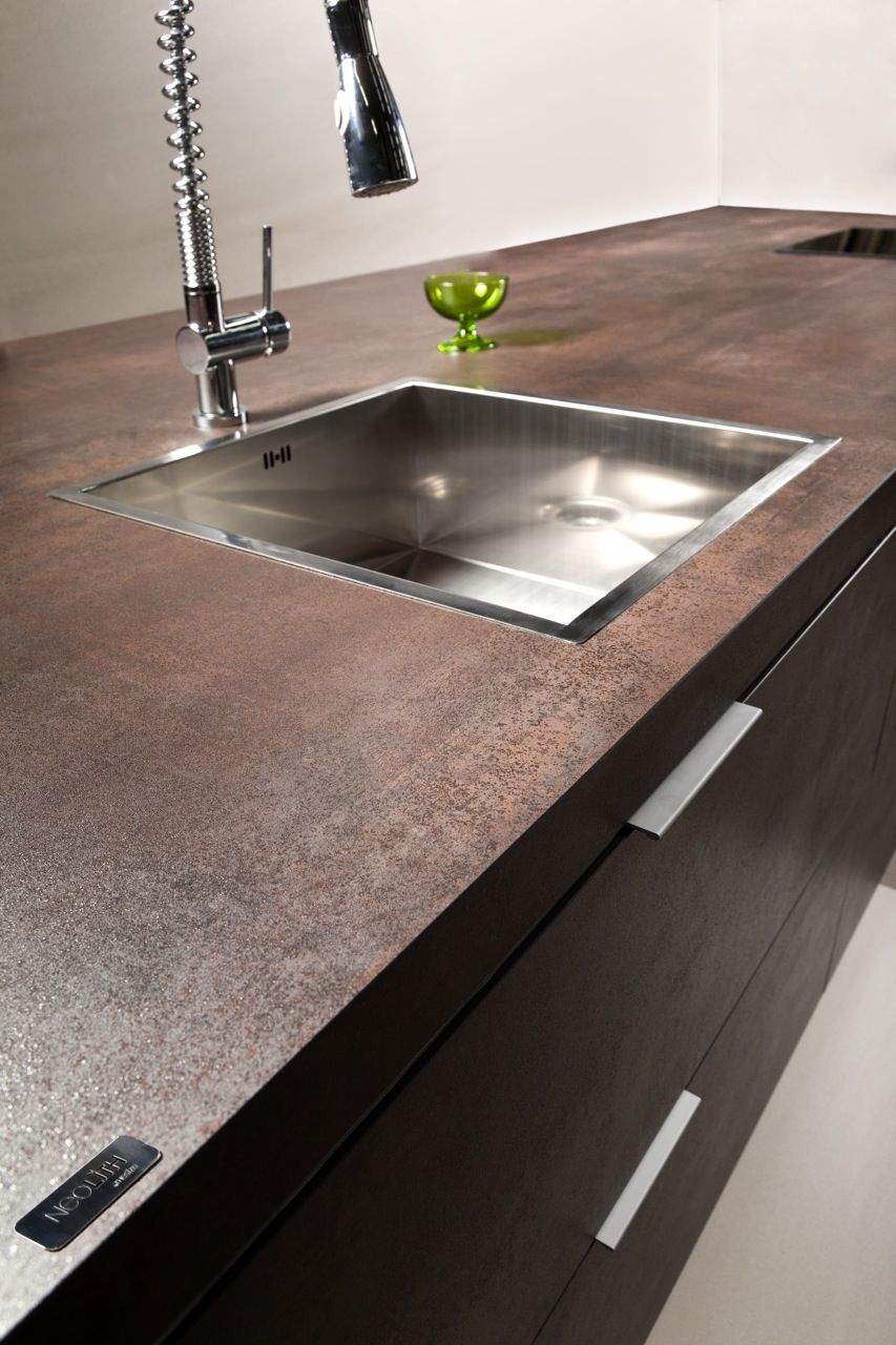 Neolith iron copper porcelain kitchen countertop and Copper countertops cost