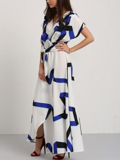 261c37d6e8 Shop Blue Stripe In White Self-tie Waist Maxi Dress online. SheIn ...