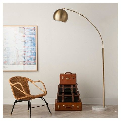 Globe arc floor lamp antique brass threshold