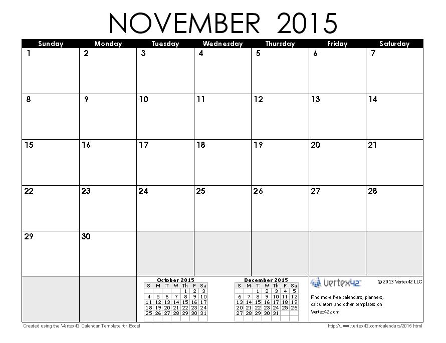 printable 4 month calendar 2015