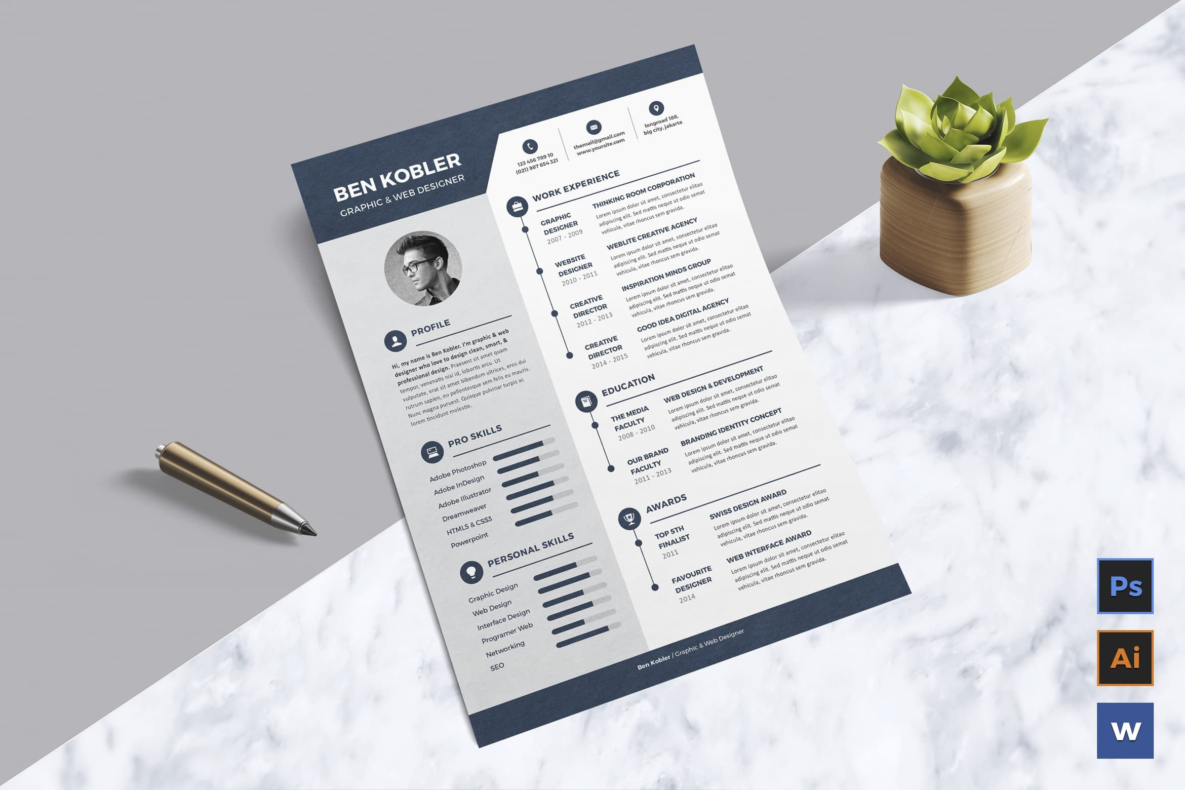 Download Resume - CV Graphic Templates by LeafLove. Subscribe to ...