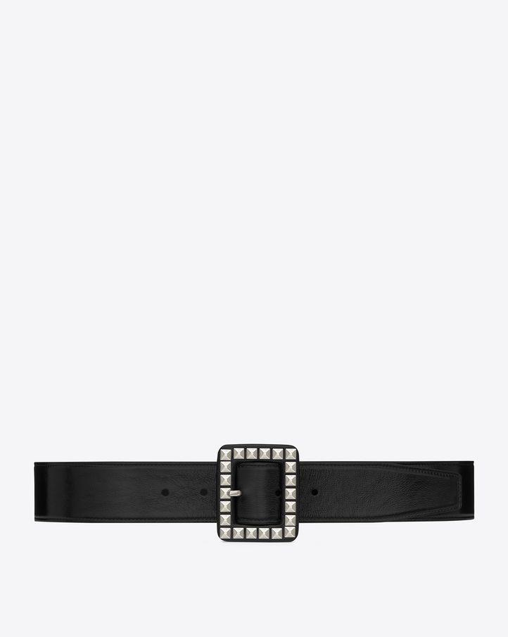 saintlaurent, Cintura CARRÉE SAINT LAURENT con fibbia nera in pelle lucida con parti metalliche in nichel ossidato