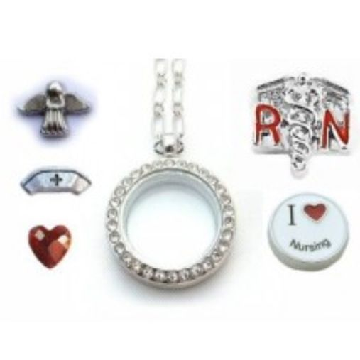 """Pre Made Floating Locket For Nursing! Personalize Your Own By Choosing From Many Different Lockets & Charms! Like My Page On Facebook To Get More Updates! Search """"Endless Xpressions by Misty"""". Order Here Today! http://www.endlessxpressions.com/store/#mistyhammons"""