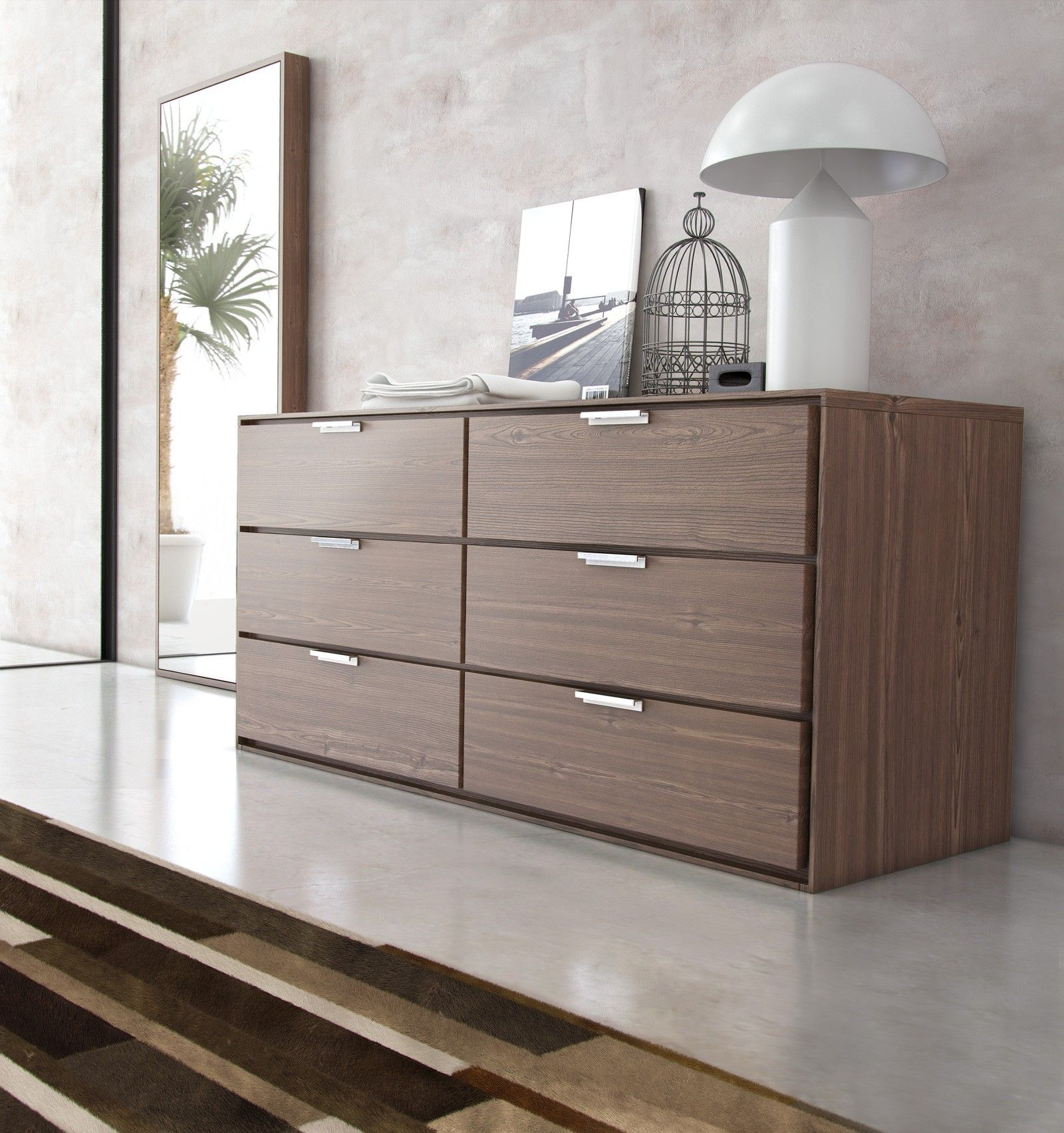 Nice Plywood 6 Drawer Modern Dresser With Chrome Pull Handle Cabinet On White Gloss Granite Floor