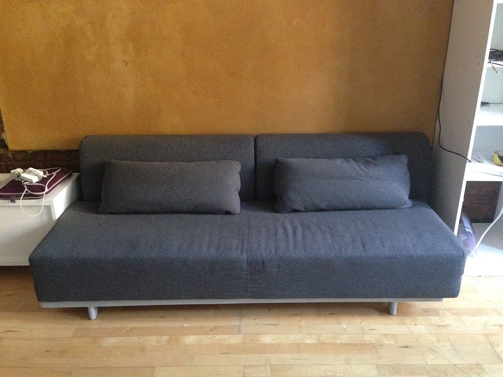 MUJI - Eco Cotton Sofa Bed with 2x Cushions. Charcoal. The most comfy and easy to open sofa bed in the market. £500 (was £650)