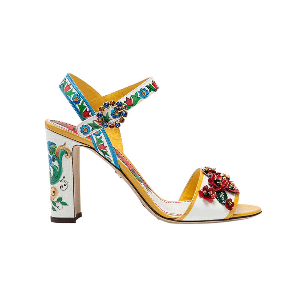 White NEZEO Flower Embellished Ankle Strap Block Heel Sandals
