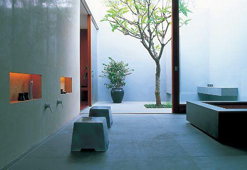 Large minimalist bathroom.