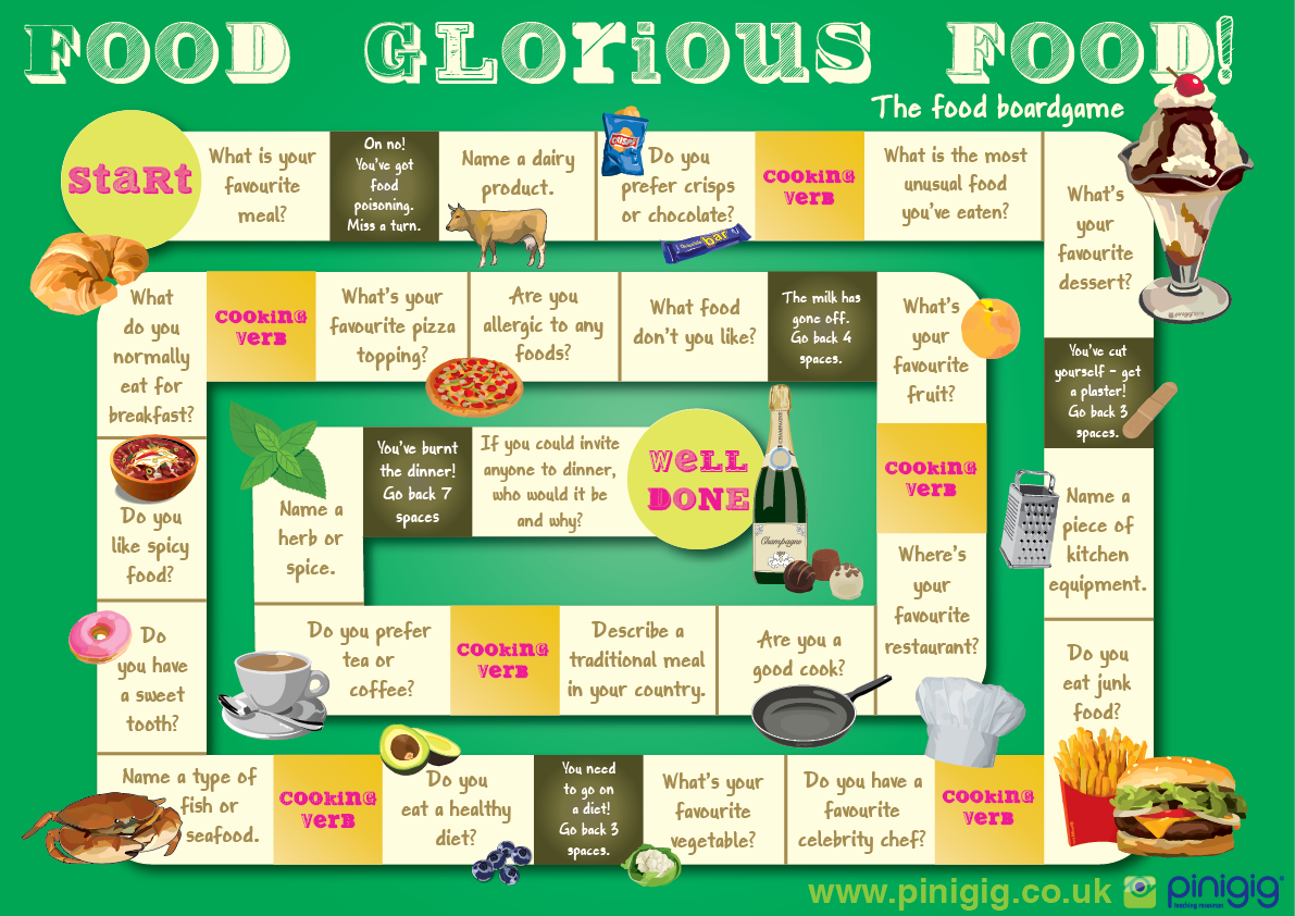 Food Glorious Food The Food Board Game For Esl Could Be Fun For Teacher Lesson 39 S