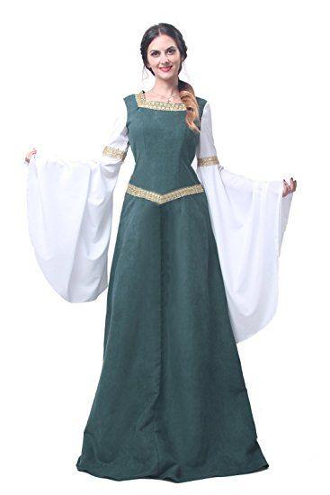 c93325795f9 Nuoqi Médiévale Robe Manches longues robes pour femmes Parti Costume  Déguisements (XXXL