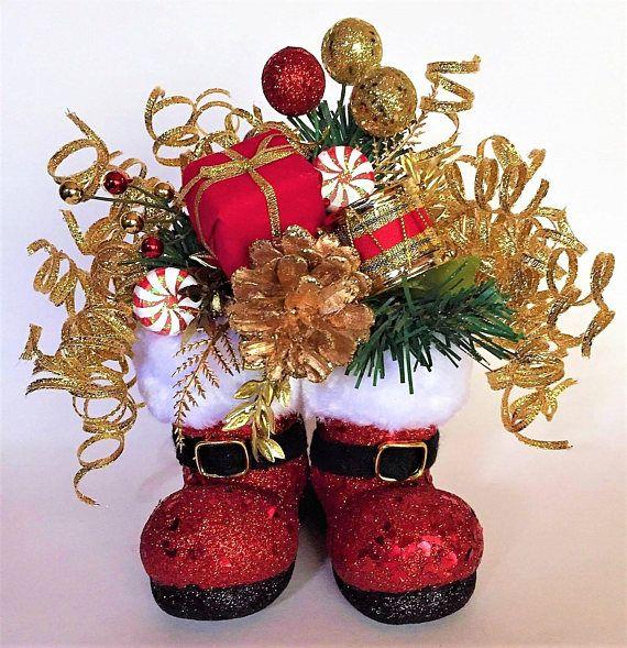 Santa Boots Holiday Floral Holiday Decor Santa Floral Holiday Floral Easy Holiday Decorations Christmas Decor Diy