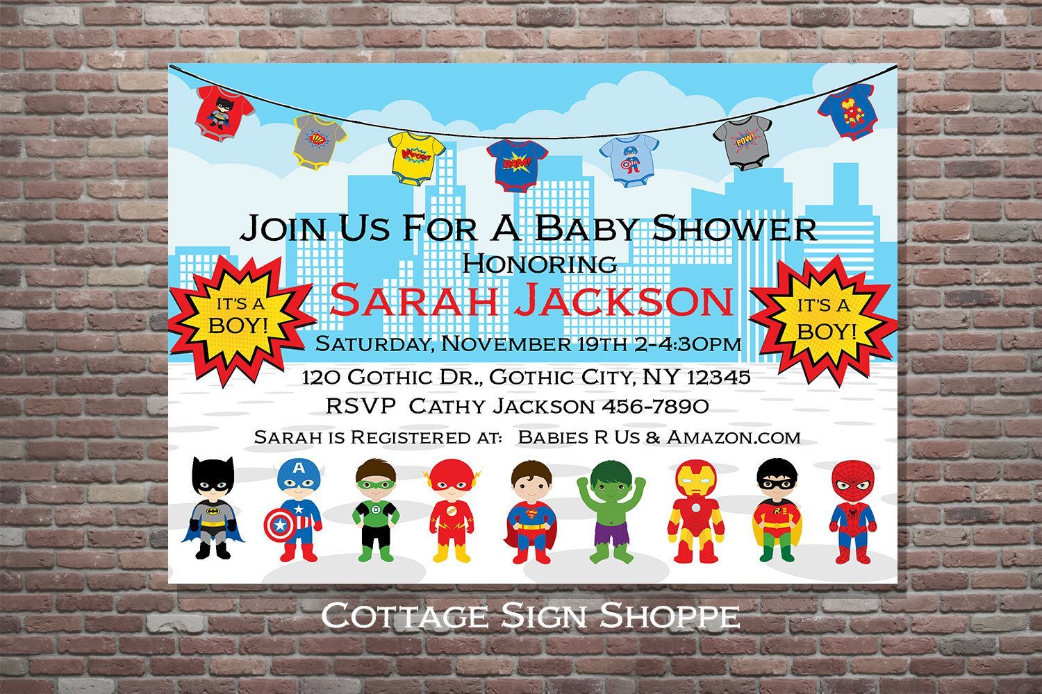 Superhero Baby Shower, Superhero Baby Shower Invitation, Boy Baby ...