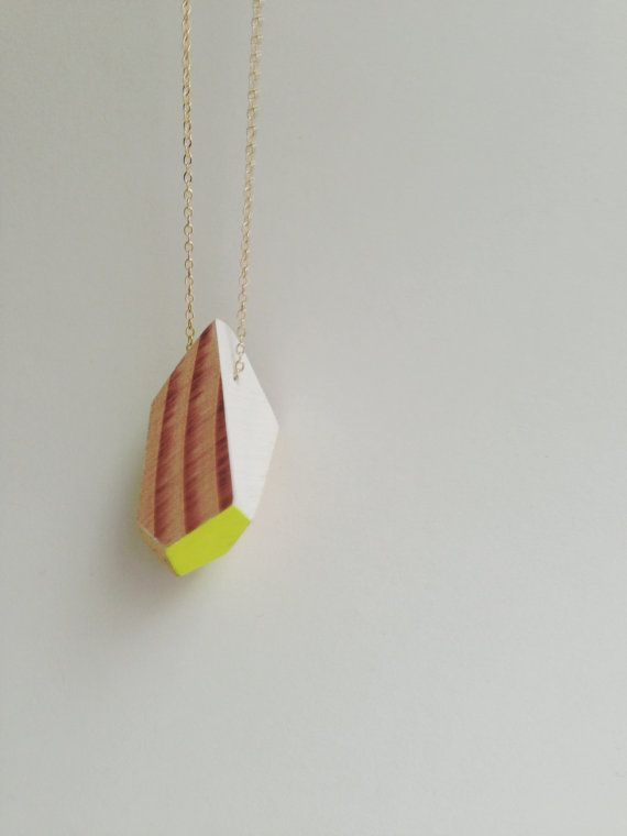 Geometric Neon Yellow Handpainted Wooden Pendant with thin gold chain on Etsy, $60.00