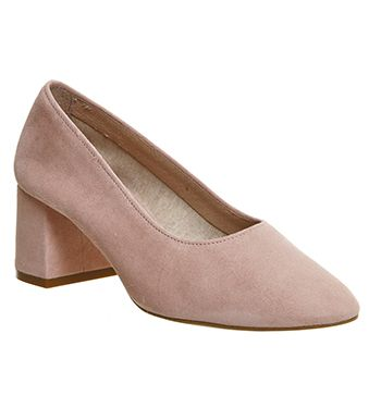 For Sale Online Women Office Mia Ballet Block Heels Black Leather Mid Heels
