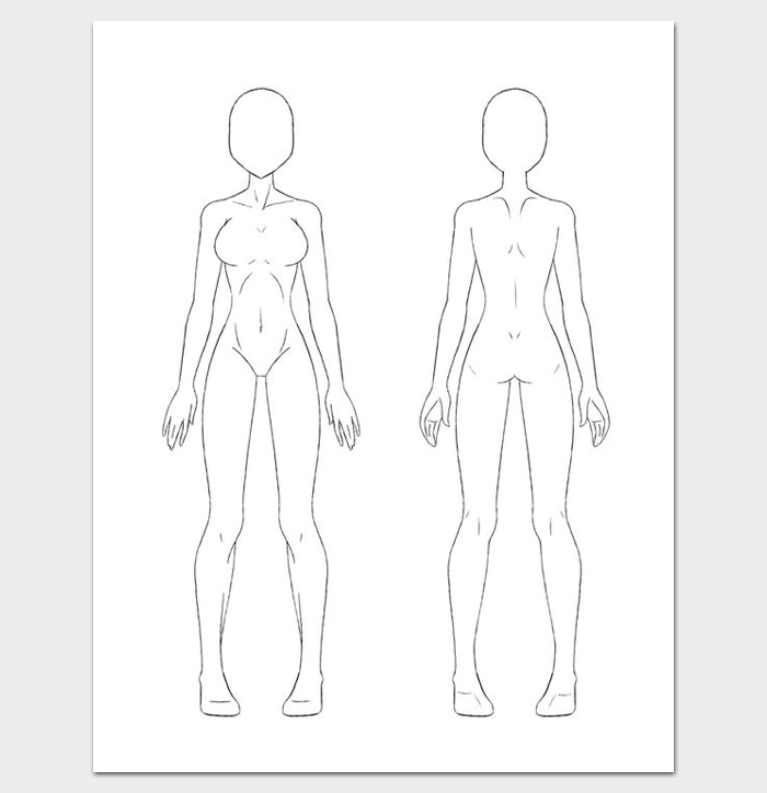 female body outline front and back basic template in poses