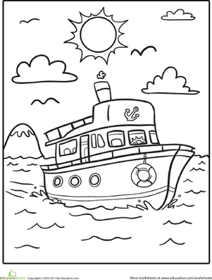 boat coloring page - Coloring Page For Kindergarten