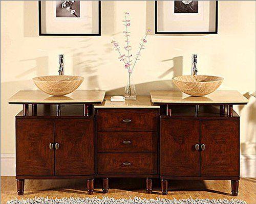73 Silkroad Double Sink Cabinet 7 8 Travertine Top W Drawer Bank By Silkroad Exclusive 1770 00 Bathroom Sink Vanity Double Vanity Bathroom Bathroom Vanity